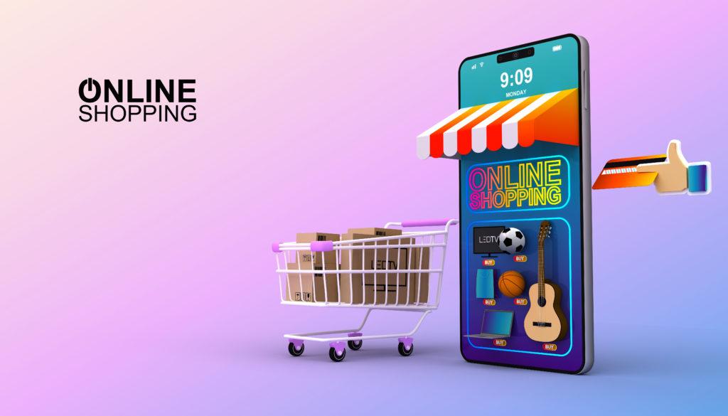 Marktanteil Shopsysteme in Deutschland: Stilisierter Onlineshop auf einem Smartphone als Symbolbild.